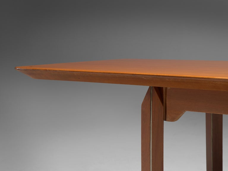 Giulio Moscatelli Long Conference Table in Teak and Metal For Sale 1