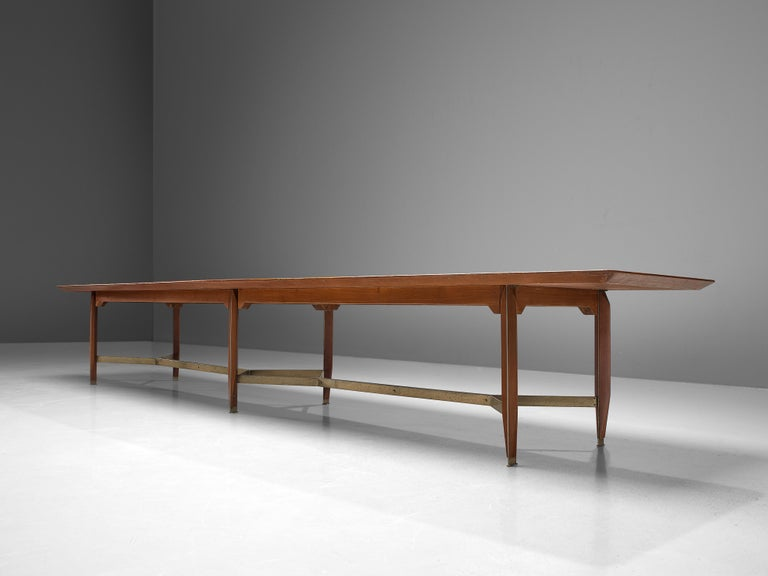 Giulio Moscatelli Long Conference Table in Teak and Metal For Sale 2