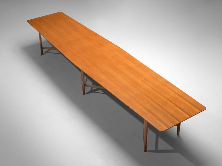 Giulio Moscatelli Long Conference Table in Teak and Metal For Sale 3