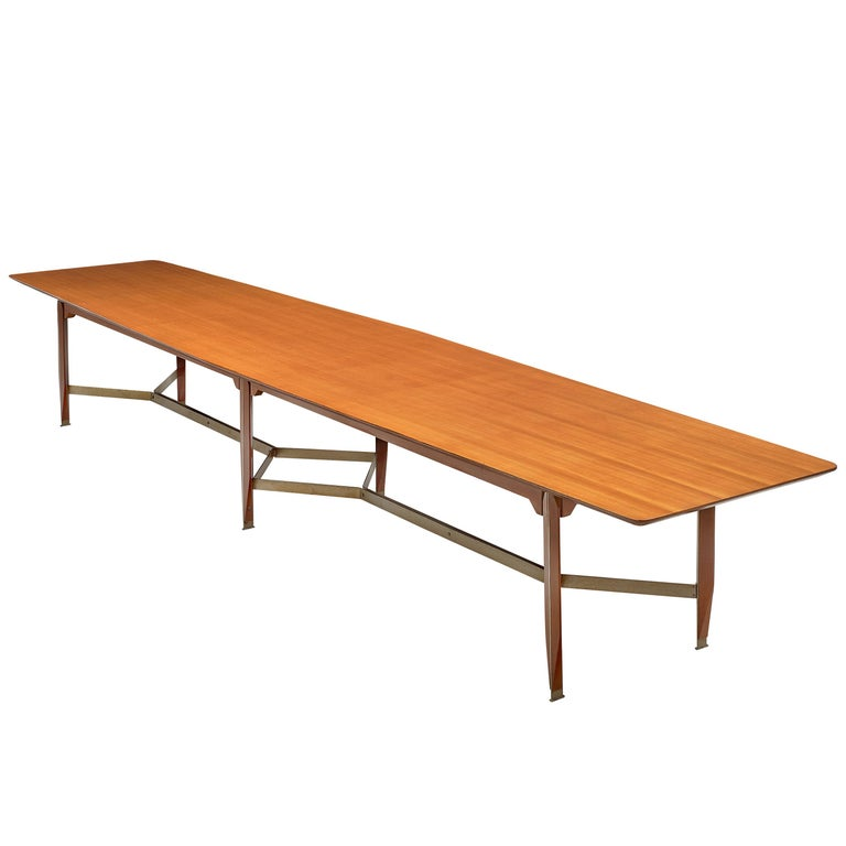 Giulio Moscatelli Long Conference Table in Teak and Metal For Sale