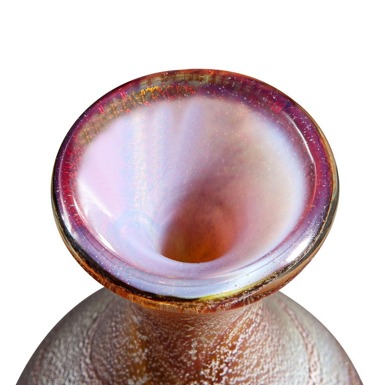 Italian Giulio Radi Amber Glass Vase with Silver Foil, Ca 1950 For Sale