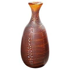 Giulio Radi Amber Glass Vase with Silver Foil, Ca 1950