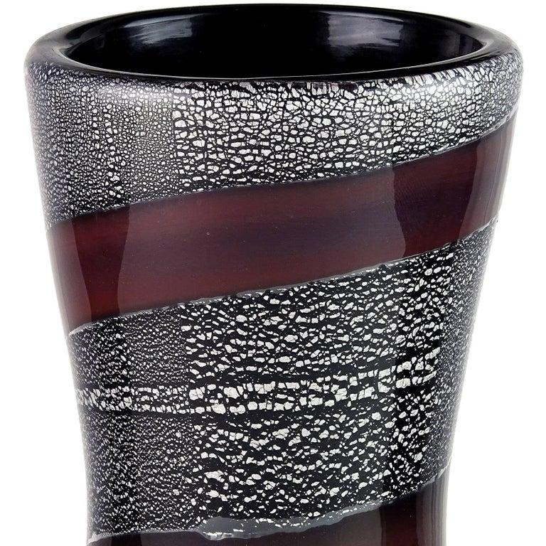 Mid-Century Modern Giulio Radi A.Ve.M. Mauve Stripe Silver Leaf Black Italian Art Glass Flower Vase For Sale