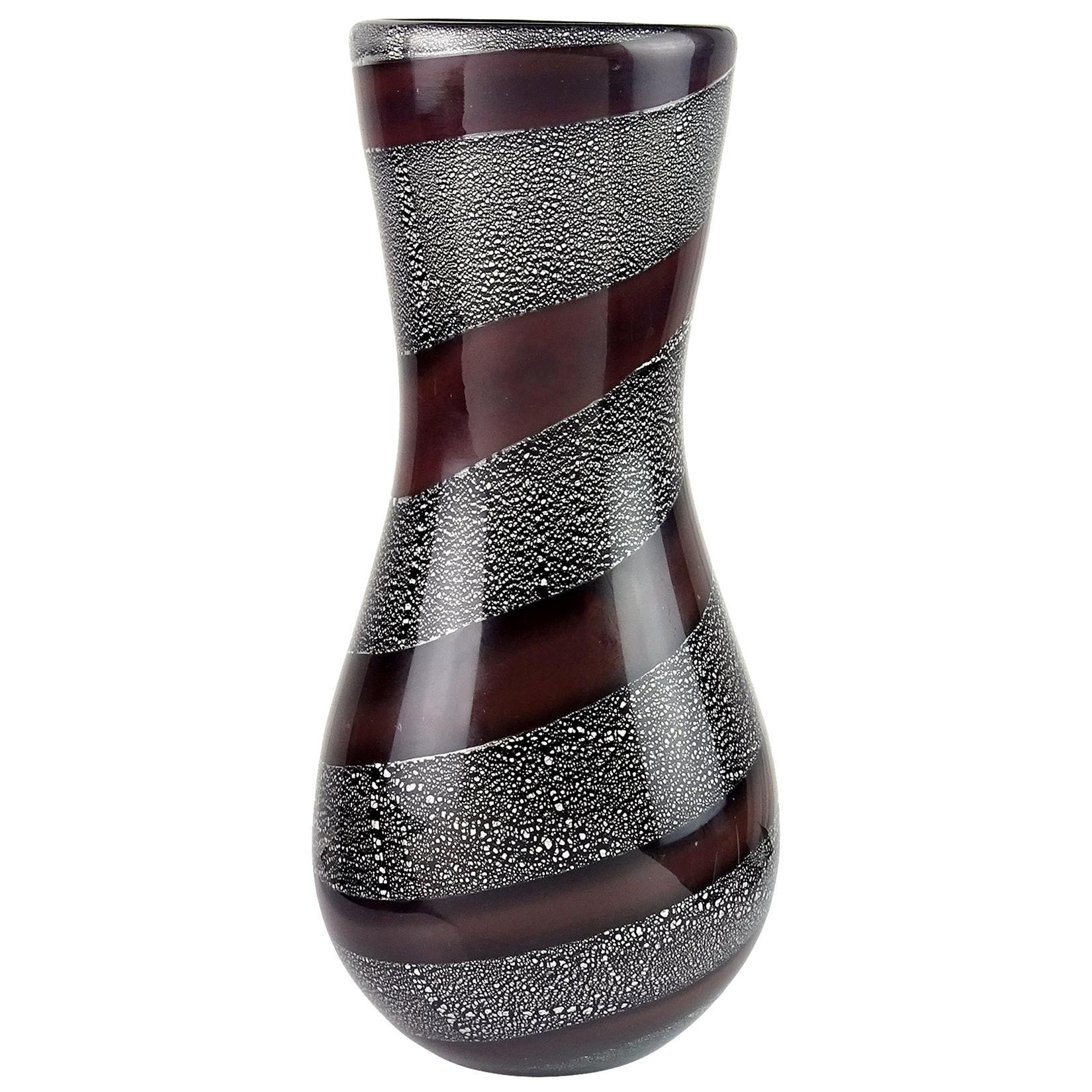 Giulio Radi A.Ve.M. Mauve Stripe Silver Leaf Black Italian Art Glass Flower Vase