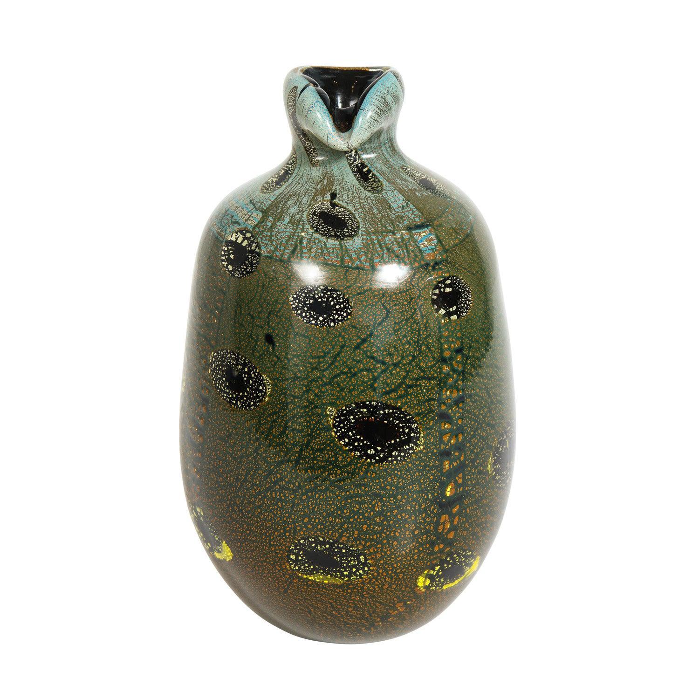 Giulio Radi Black Glass Vase with Gold Foil and Murrhines ca 1950