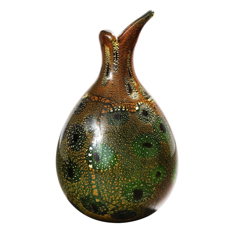 Mid-Century Modern Giulio Radi Hand Blown Glass Vase with Gold Foil and Murrhines, ca 1950 For Sale