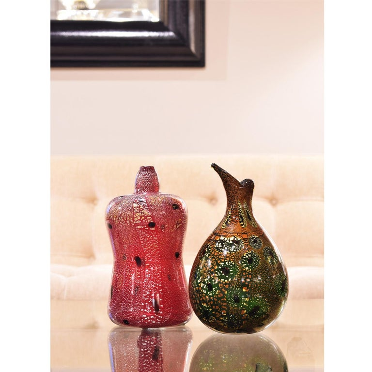 Giulio Radi Hand Blown Glass Vase with Gold Foil and Murrhines, ca 1950 In Excellent Condition For Sale In New York, NY