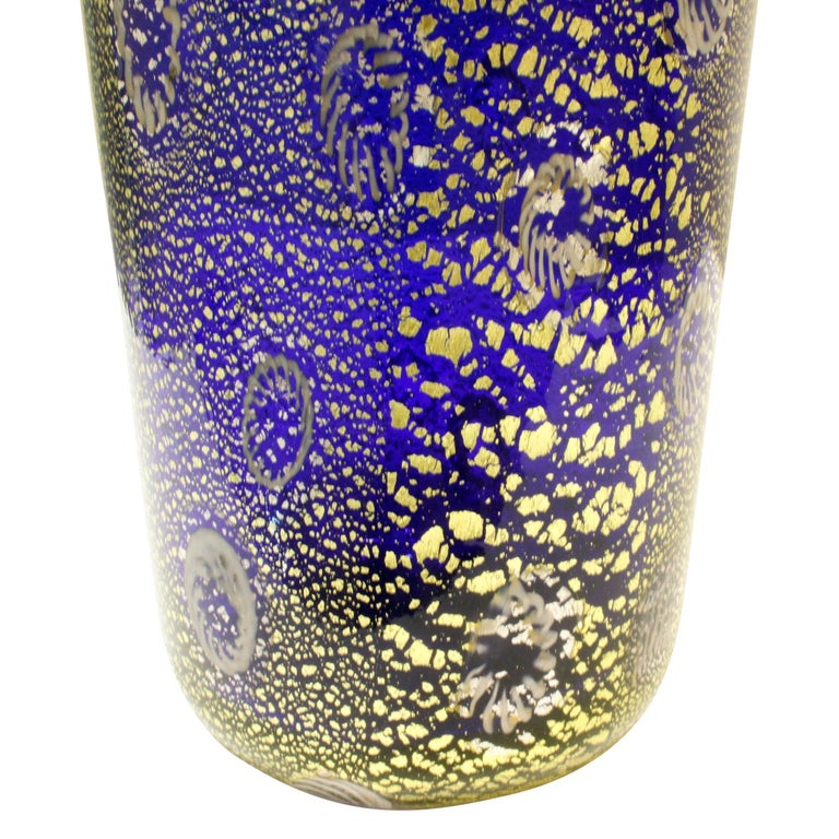 Italian Giulio Radi Hand Blown Glass Vase with Murrhines and Gold Foil, circa 1950 For Sale