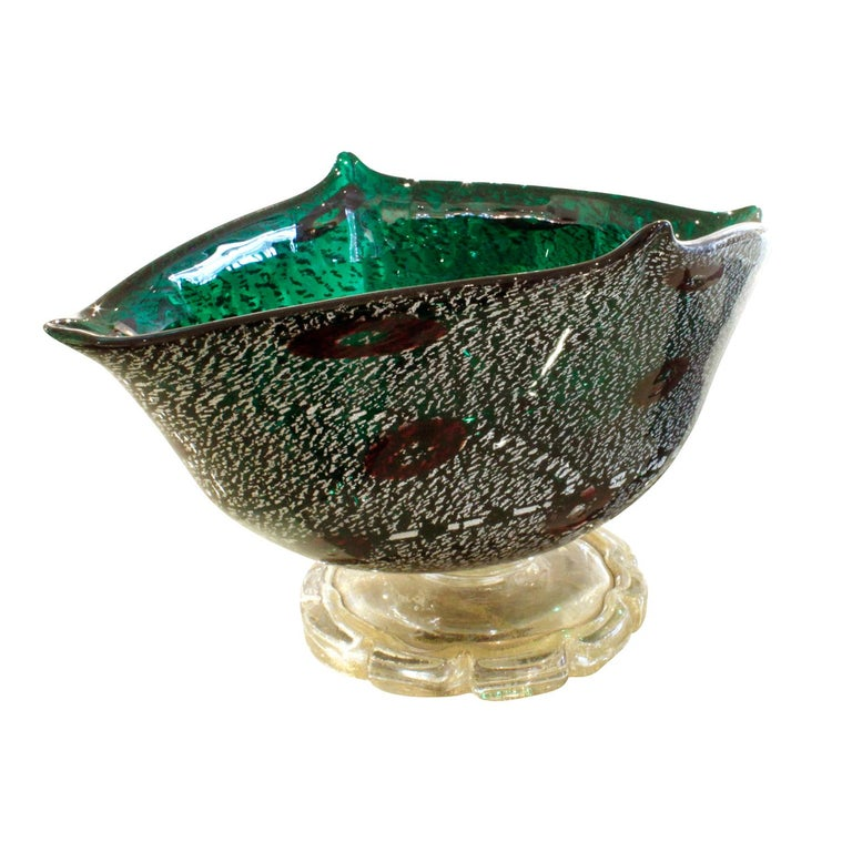 Mid-Century Modern Giulio Radi Hand Blown Vessel with Silver and Gold Foil with Murrhines, 1940s For Sale