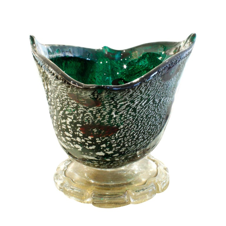 Italian Giulio Radi Hand Blown Vessel with Silver and Gold Foil with Murrhines, 1940s For Sale