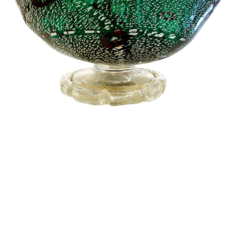 Mid-20th Century Giulio Radi Hand Blown Vessel with Silver and Gold Foil with Murrhines, 1940s For Sale
