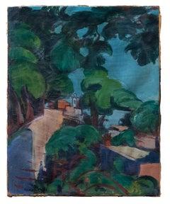 Rome Villa Borghese Garden - Trinità de' Monti - Oil on Canvas by G. Turcato
