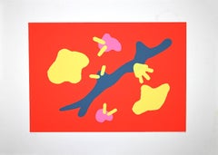 Composition in Red - Original Screen Print by Giulio Turcato - 1970s