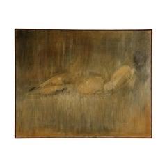 Giuseppe Ajmone, Oil on Canvas. Nude 1964