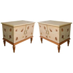 Giuseppe Anzani Pair of Parchment and Wood Midcentury Italian Commodes, 1950