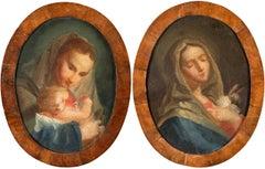 Pair of 18th century Venetian figure paintings - Virgin Child - Oil on canvas