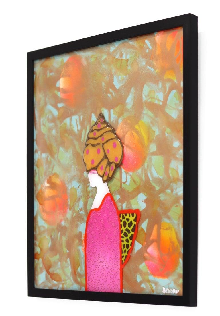 La Donna Di Persia - Orange Figurative Painting by Giuseppe Beddru