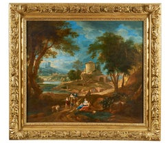 18th Century Bernardino Bison  Landscape Nature Oil on Canvas Green Blue