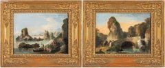 18th century Venetian figure painting - Landscape - Oil on canvas Bison Signed