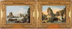 18th century Venetian figure painting - Landscape - Oil on canvas Bison Signed