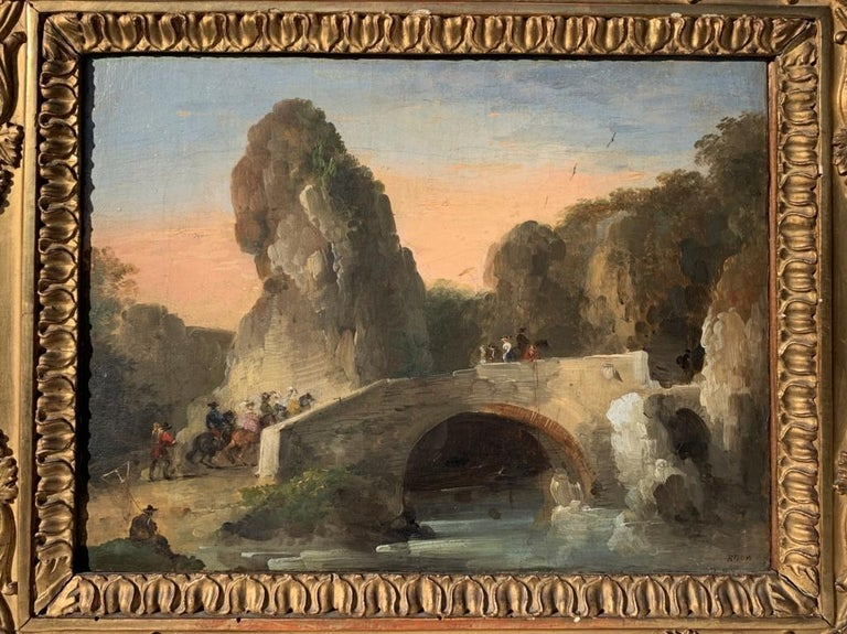 18th century Venetian figure painting - Landscapes - Oil on canvas Bison Signed 5