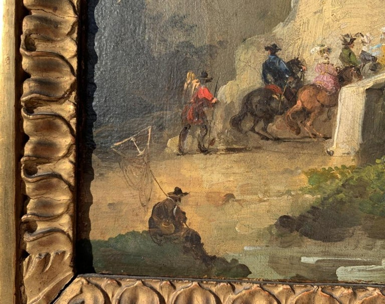 18th century Venetian figure painting - Landscapes - Oil on canvas Bison Signed 6