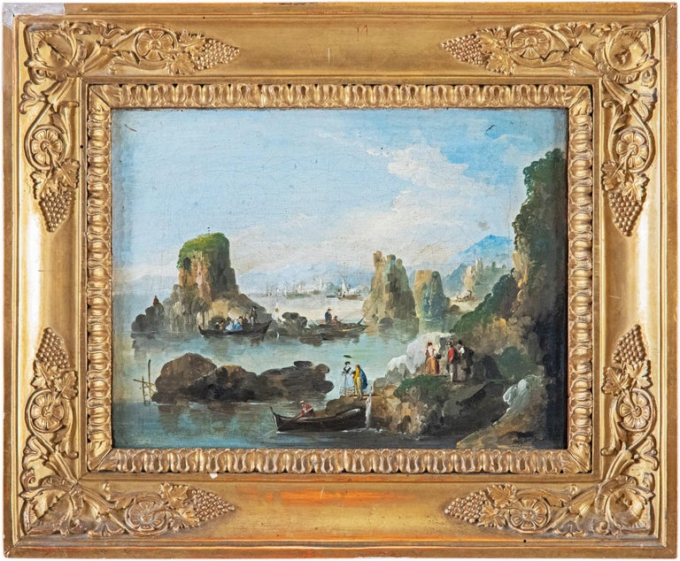 18th century Venetian figure painting - Landscapes - Oil on canvas Bison Signed - Painting by Giuseppe Bernardino Bison
