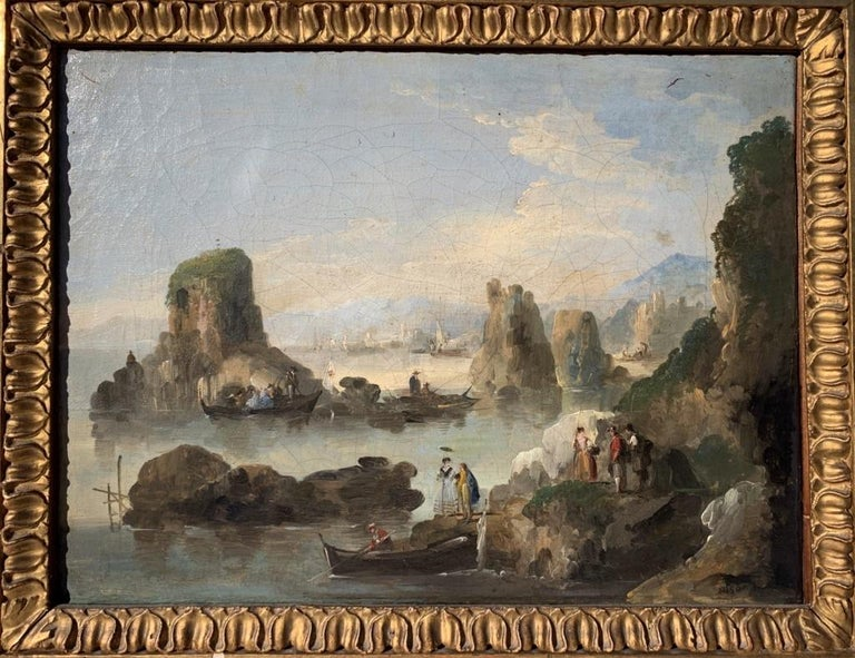18th century Venetian figure painting - Landscapes - Oil on canvas Bison Signed - Brown Figurative Painting by Giuseppe Bernardino Bison