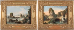 18th century Venetian landscape painting - Bison Venice - Oil on canvas Italy