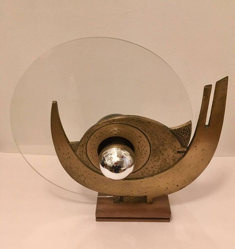 Italian Giuseppe Calonaci Bronze Sculpture, 1960 Table Lamp For Sale