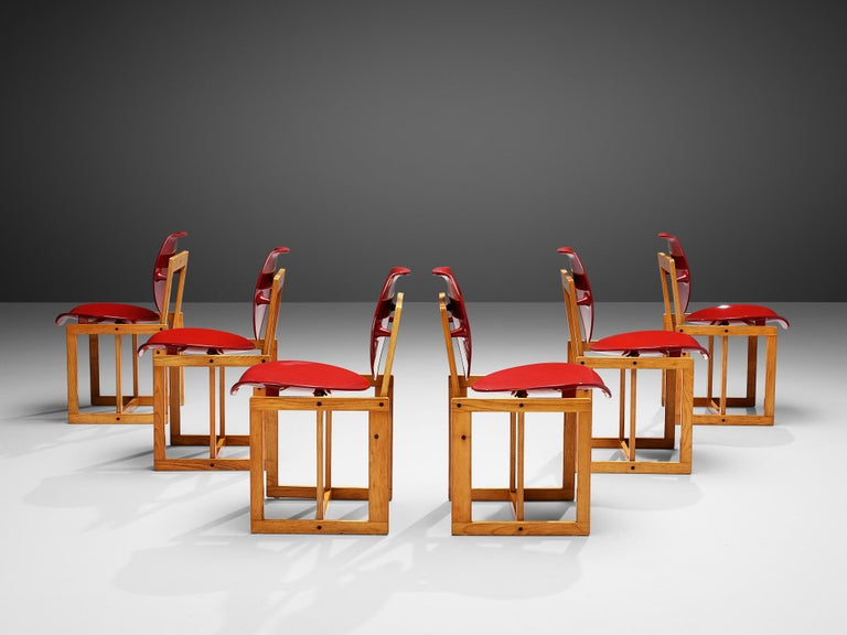 Giuseppe Davanzo for Appiani Selezione, set of six dining chairs 'Serena', ash, plastic, Italy, 1960s  This set of six Italian dining chairs was designed by Giuseppe Davanzo in the 1960s. On a wooden frame consisting of multiple squared frames