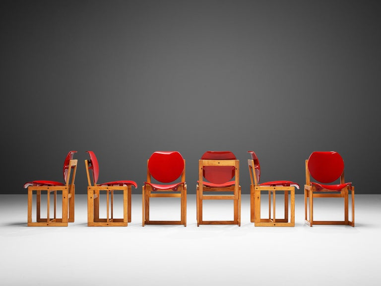 Italian Giuseppe Davanzo Set of Six Dining Chairs 'Serena' For Sale