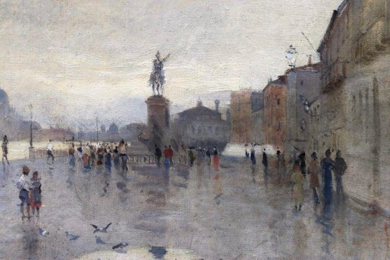 Rain - Riva Degli Schiavone, Venice - Figures in Cityscape by Giuseppe De Nittis For Sale 11