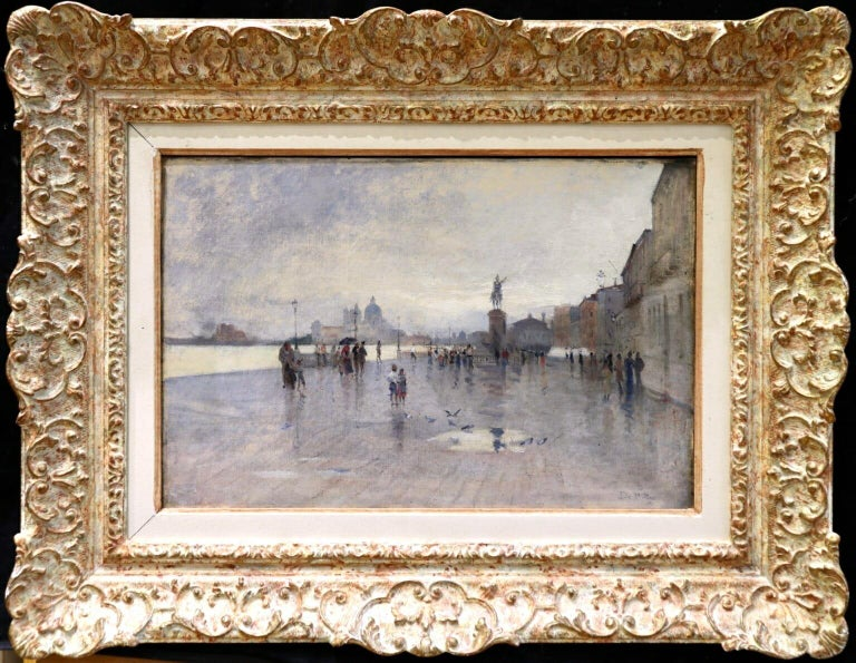 Rain - Riva Degli Schiavone, Venice - Figures in Cityscape by Giuseppe De Nittis For Sale 1