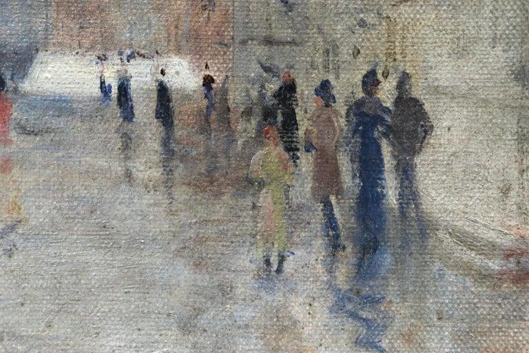 Rain - Riva Degli Schiavone, Venice - Figures in Cityscape by Giuseppe De Nittis For Sale 2