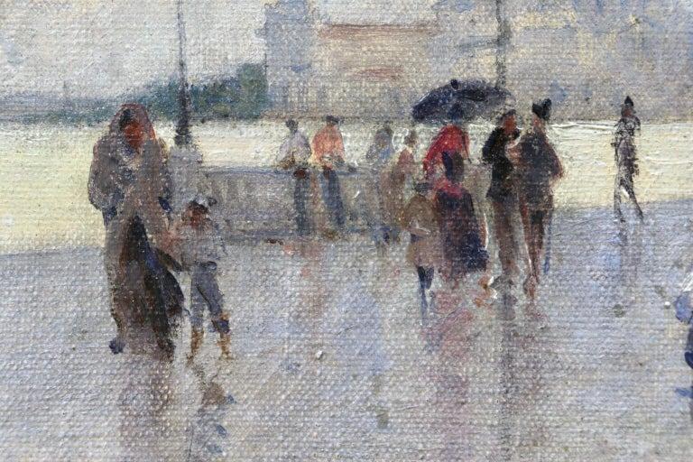 Rain - Riva Degli Schiavone, Venice - Figures in Cityscape by Giuseppe De Nittis For Sale 3