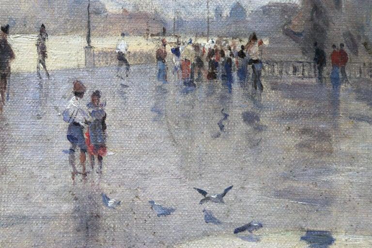Rain - Riva Degli Schiavone, Venice - Figures in Cityscape by Giuseppe De Nittis For Sale 4