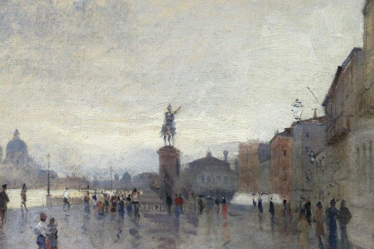 Rain - Riva Degli Schiavone, Venice - Figures in Cityscape by Giuseppe De Nittis For Sale 5