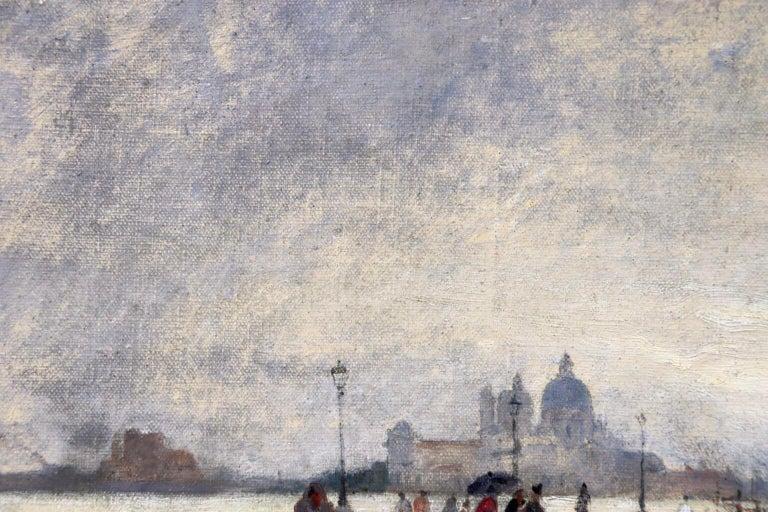 Rain - Riva Degli Schiavone, Venice - Figures in Cityscape by Giuseppe De Nittis For Sale 6