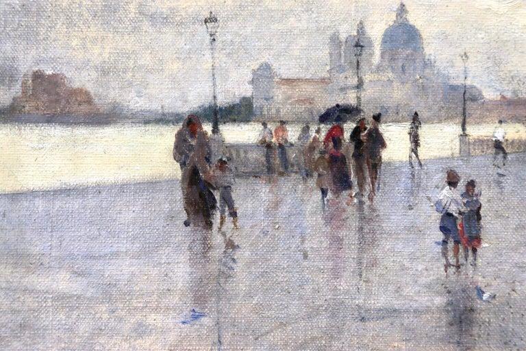 Rain - Riva Degli Schiavone, Venice - Figures in Cityscape by Giuseppe De Nittis For Sale 7
