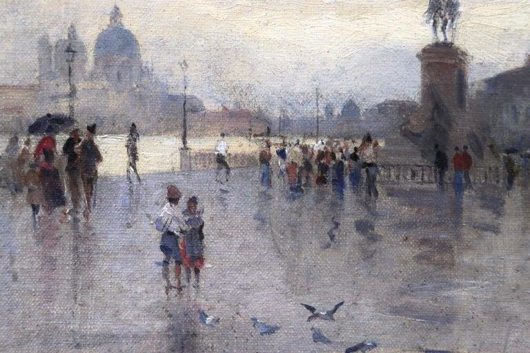 Rain - Riva Degli Schiavone, Venice - Figures in Cityscape by Giuseppe De Nittis For Sale 8