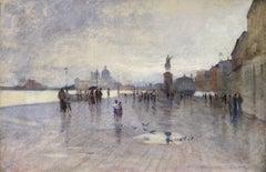 Rain - Riva Degli Schiavone, Venice - Figures in Cityscape by Giuseppe De Nittis