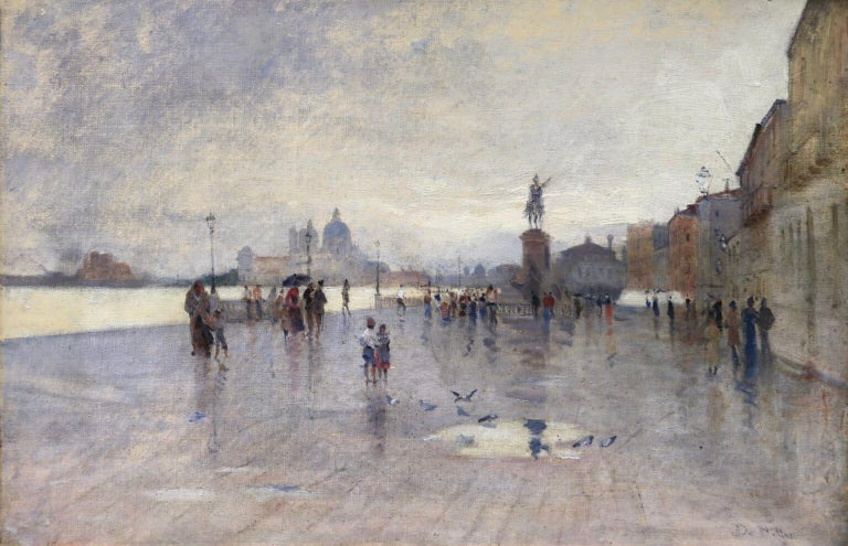 A stunning oil on original canvas by Italian painter Giuseppe De Nittis. The painting depicts figures walking up and down the promenade along River Degli Schiavone, Venice.   The work is executed on a Lefranc & Cie canvas which is stamped verso with