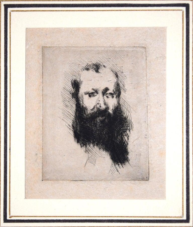 Portrait of Bearded Man Alphonse Hirsch - Original Etching by G. De Nittis -1875 - Print by Giuseppe De Nittis