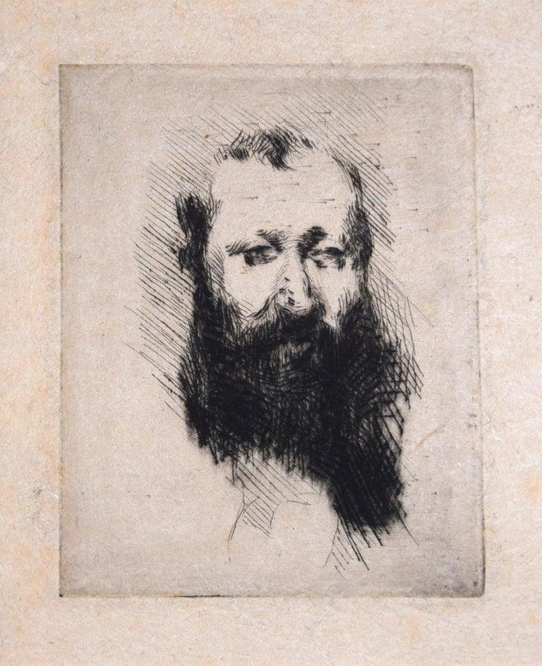 Giuseppe De Nittis Portrait Print - Portrait of Bearded Man Alphonse Hirsch - Original Etching by G. De Nittis -1875