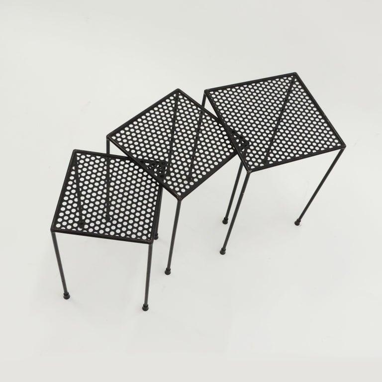 Metal Giuseppe De Vivo Nesting Tables, Italy, 1950s For Sale
