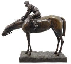 Jockey on his horse, G. Ferrari Italy 19th century