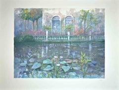 Villa on the lake - Original Print by Giuseppe Giorgi - 1980s