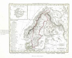 Ancient Map of Denmark and Sweden - Original Etching - 19th Century