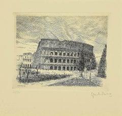 Colosseum - Original Etching by Giuseppe Malandrino - 1970s